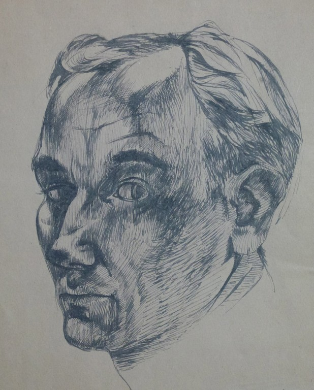 Gavin Alston, Self-Portrait, pen and ink, c. 1955
