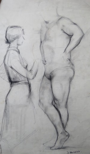 Drawing by Douglas Abercrombie of Janie pointing to big Jimmy's tummy button.