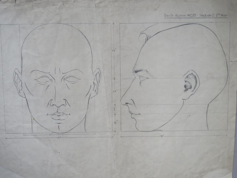 Proportions of the face by Gavin Alston, first year GSA, c. 1947